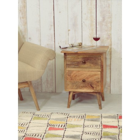Retro side table shown with the Lulu armchair and geometric design rug