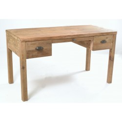 Solid wood desk or dressing table made from reclaimed pine with three drawers and a plain wood finish