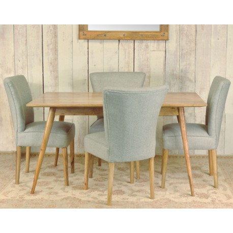 retro styled solid mango wood dining table and four upholstered chairs