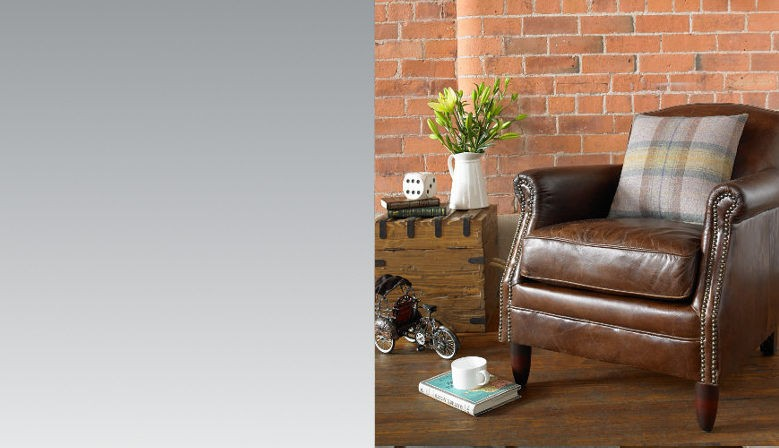 Vintage Leather chair made with top grain leather and detail studding