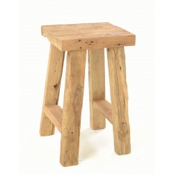 Rustic solid teak tall square top stool with natural distressed and unpainted finish