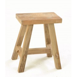 Rustic country stool with angled legs a pegged joints and a plain unpainted finish