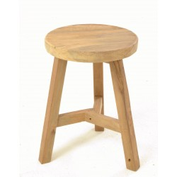 Rustc country solid teak round stool with angled stretcher between three legs and a plain wood unpainted finish