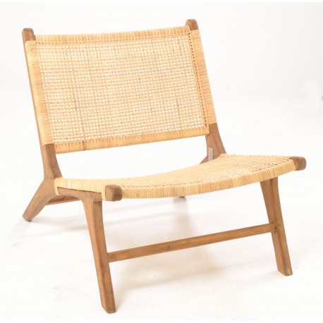 Easy chair with a woven rattan seat, back and solid teak frame