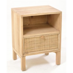 Solid wood side table or bedside with one shelf over a single drawer with a woven rattan front with unpainted wood finish