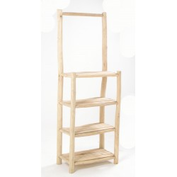 Solid wood display stand made from teak branches in a plain unpainted wood finish with four slatted shelves