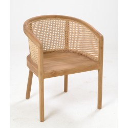 Solid wood round chair made from teak for the frame with woven rattan rounded back and solid teak seat