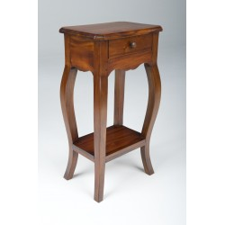 Hall table made from solid mahogany with one drawer and a low shelf styled with curved legs and traditional polished finish