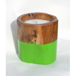 Teak candle made from reclaimed teak root with a apple-green painted band round the bottom half