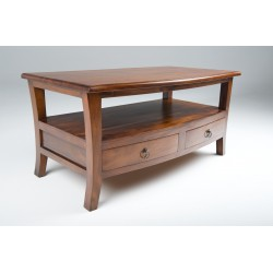 Solid Mahogany coffee table with four drawers and a shelf with a gentle curved shape in a traditional polish