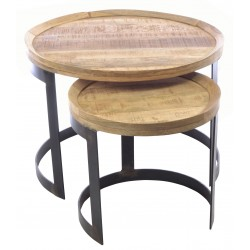 Industrial stlye metal and wood two table nest with round tables and curved stand