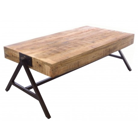 Industrial style metal and wood coffee table with a triangular leg styled as a single hinge