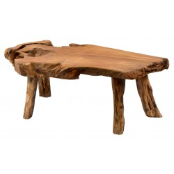 Coffee Table made from teak tree roots and finished in polished natural finish