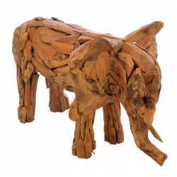 Ornamental elephant made from reclaimed teak pieces and put together to create the elephant