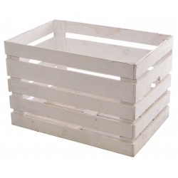 Solid wood white painted slatted crate with cut out handles