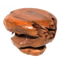 Ball stool made from a teak tree root with a unique shape and size