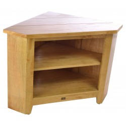 Solid mango wood corner tv unit with two shelves and no gap in corner in a light wood finish