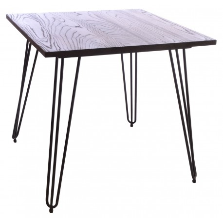 Steel and Elm small square cafe table with dark grey solid steel frame and hairpin legs and a solid dark wood top