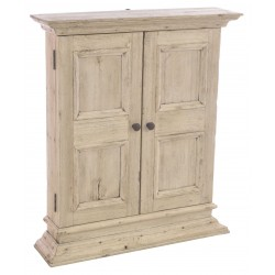 Solid wood wall cabinet with three shelves and a stripped back vintage finish