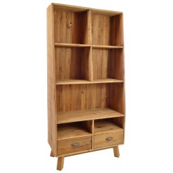 Solid wood tall bookcase with 7 shevles and two low drawers made from reclaimed pine with aged distressing