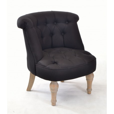 buy a small bedroom chair in black linen with solid wood legs 17357 | black occasional chair