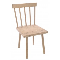 Solid wood chair with a square plank seat and round slat back in a vintage stripped back finish