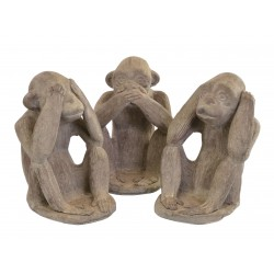 Classic see hear and speak no evil monkeys with elbows on knees and sat down