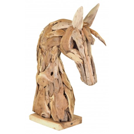 Horses head sculpture made from reclaimed teak wood with a wonderful rustic feel