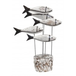 5 Fish Ornament on a rustic stand with the fish on standing wires like a shoal