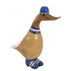 Small solid wood duck painted as a football fan with a hat, scarf, studded boots and finished with a polished finish.