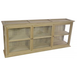 Solid wood wall cabinet with glass panels and mid level shelf finished with a stripped back old world finish