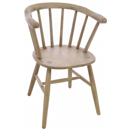 Solid wood vintage curved carver style chair with continuous arm back and finished with stripped back finish