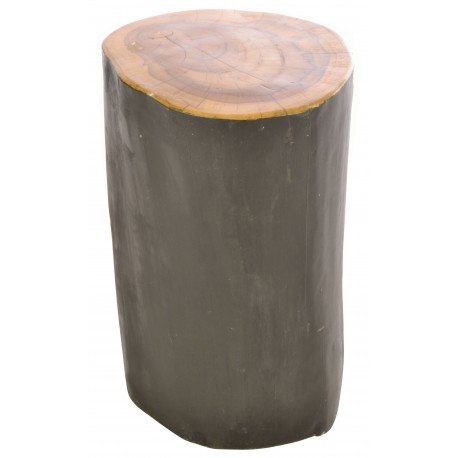 Solid wood teak log stool or small table with a varish to the tree trunk rings and black painted sides