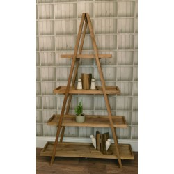 Reclaimed pine solid wood trestle style bookcase with 4 tray shelves fitting in the trestle support