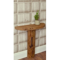 Reclaimed pine solid wood single pedestal demilune console table
