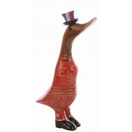 Small decorative duck handmade from bamboo and painted in the style of the beefeaters at the Tower of London