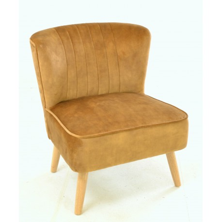 Gold coloured velvet covered accent chair or bedroom chair with wooden legs