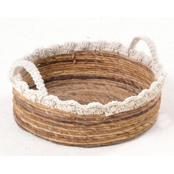Low hand woven basket with white crochet style rim and handles