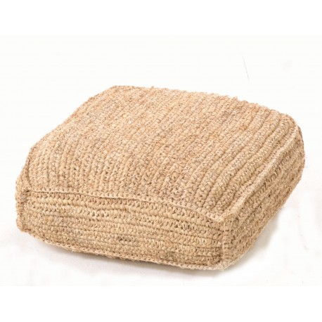 Hand woven square footstool or pouffe