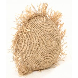 Round hand woven cushion with tasselled edges
