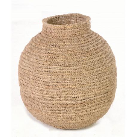 Hand woven urn or gourd shaped plain basket