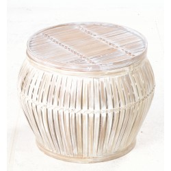 Hand made distressed white bulbous basket made from bamboo in a slatted style with lid