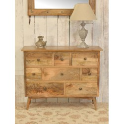 Retro styled chest of drawers with 8 drawers all made from solid mango wood, simple knob handles on the drawers