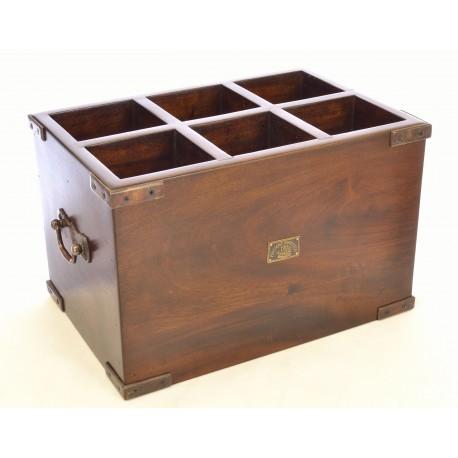 Solid mahogany dark wood 6 bottle wine rack with brass drop handles and corner protectors
