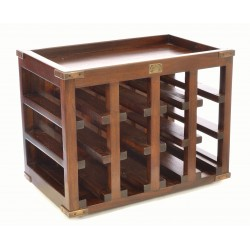 Solid mahogany dark wood 12 bottle wine rack with grid type storage area and brass corner strengtheners