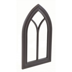 Solid wood framed mirror in a gothic arch style with a black painted finish to the wood