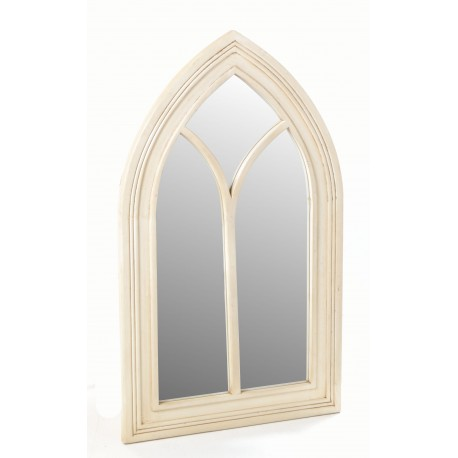 Solid wood framed mirror in a gothic arch style with a cream painted finish to the wood