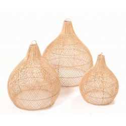 Bottle shaped lightshades made from ratan and left with the natural colouring