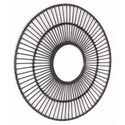 Round mirror with a black spoked rattan frame