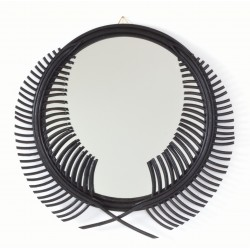 Round mirror with a laurel wreath designed frame painted in striking black